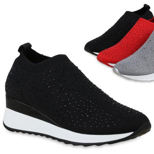 Damen Sneaker Turnschuhe Schnürer Leder-Optik Plateauschuh 825900 Trendy Neu