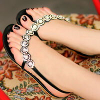 Women Candy Bling Glitter Flat Flip Flop Summer Beach Sandal Rhinestone Shoe