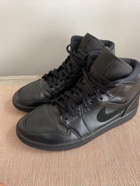 Nike Air Jordan 1 Mid Size 8 US Triple Black Men's Shoes Sneakers 554724-090