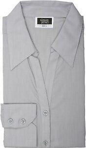 Simon-Jersey-Chambray-Two-Button-Cuff-Open-Collar-Blouse-Silver-Grey