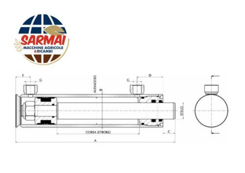 Pistone idraulico cilindro doppio effetto 390x50x30mm corsa 250