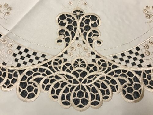 """90x90/"""" Round Ecru Fabric Embroidery Cutwork Embroidered Tablecloth 12 Napkins"""