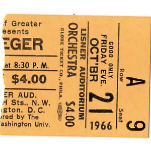 PETE-SEEGER-Concert-Ticket-Stub-WASHINGTON-DC-10-21-66-LISNER-AUDITORIUM-Rare