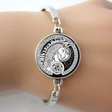Celtic Unicorn Black White and Silver Bracelet