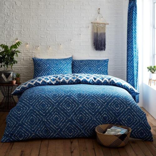 Luxe Indigo Diamond Bleu Housse Couette Ensemble De Literie Avec Taies d/'oreiller toutes tailles