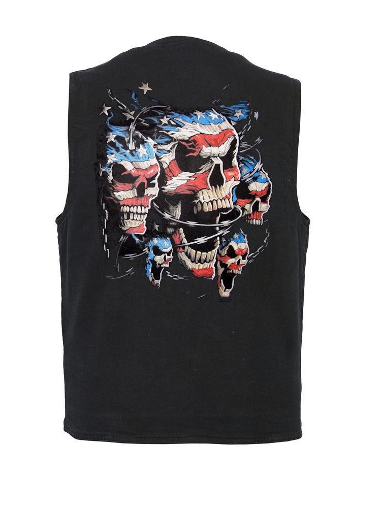 Mens Denim Vest W Conceal Carry Pockets Patriotic Skulls Design