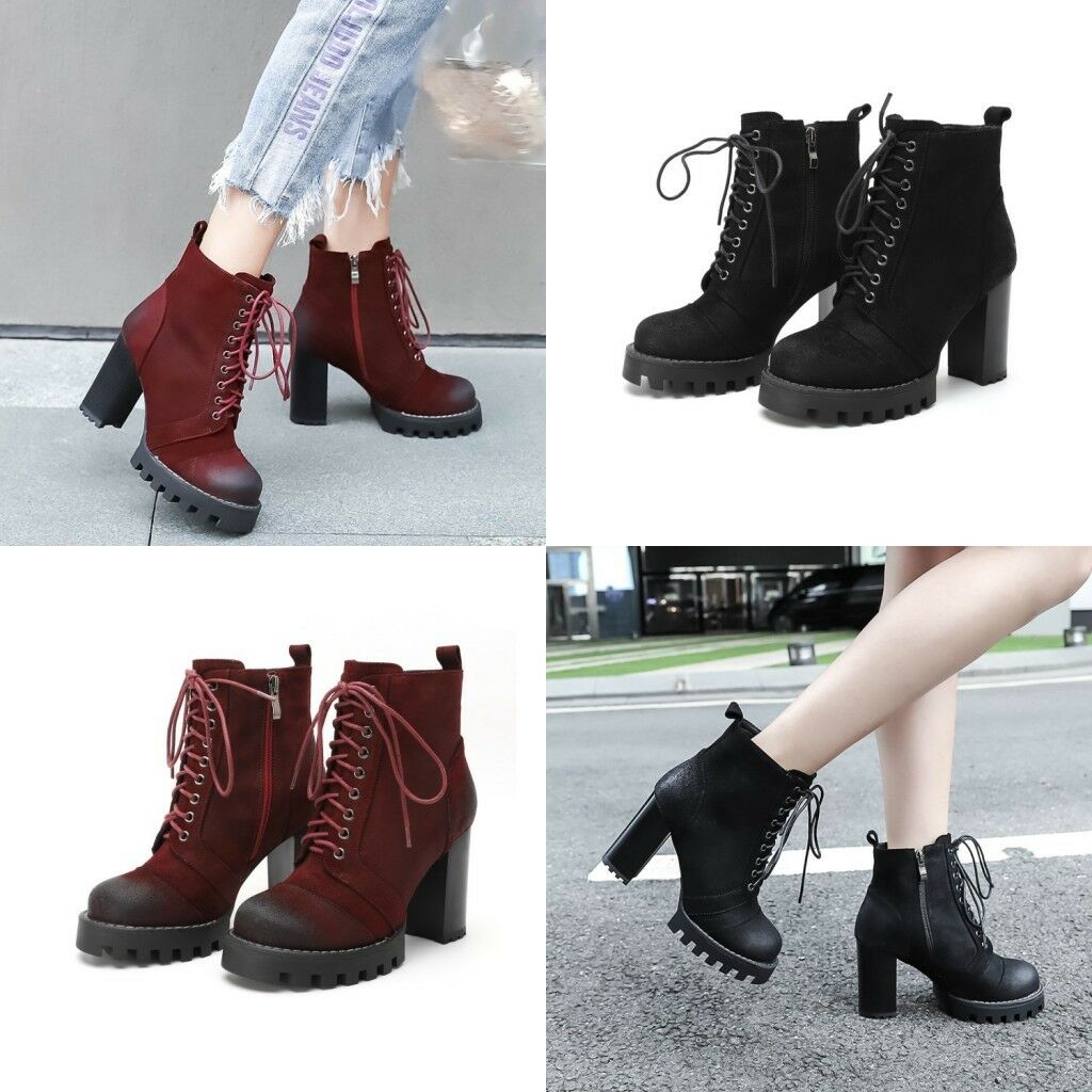 Women's Lace Up Ankle Boots Platform High Heels Suede Round Toe shoes Side Zip