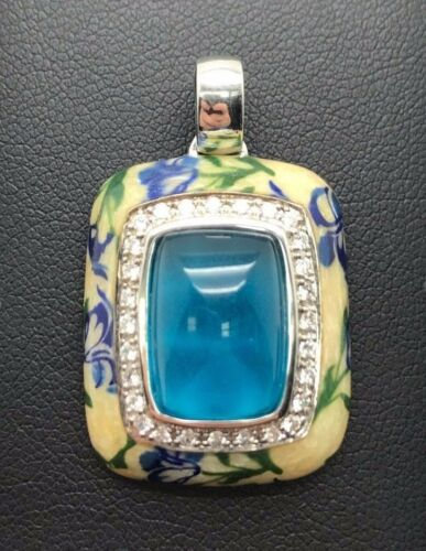 Details about  /Sterling Silver Turquoise Inlay CZ Halo Cream Enamel Floral Print Flower Pendant