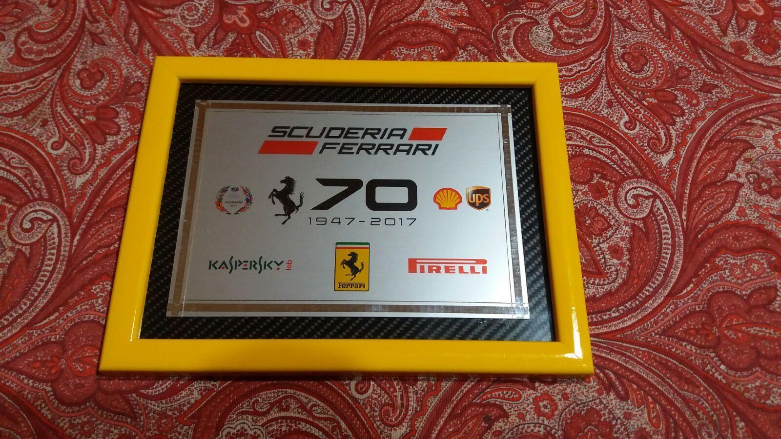 QUADRO LOGO Targa FERRARI 70 ANNIVERSARIO   Ferrari 70Th Anniversary   sortie en vente