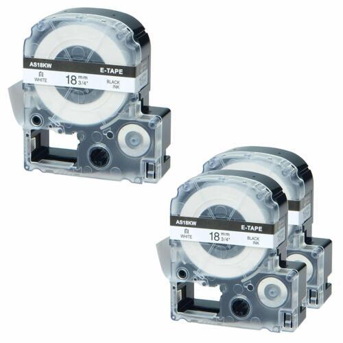 "Compatible EPSON KingJim SS18KW Label Tape Black on white 18mm 3//4/"" LW400  LW300"