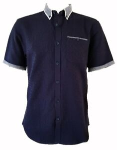 Men`s Branded Short Sleeve Button Down Shirt Pure Cotton Sizes S to 3XL