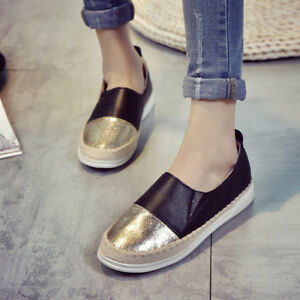 Women-039-s-Espadrille-Flats-Lazy-Loafers-Slip-on-Leather-Shoes-Comfy-Driving-Casual