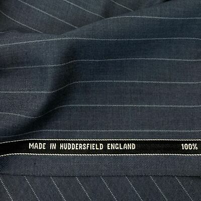 Super 160s Wool//Cashmere Navy 2Col Stripe Suiting 3.5metres