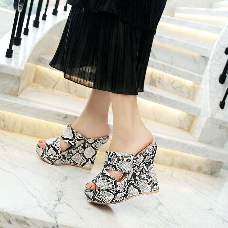 Womens Trendy Sexy Snake skin Sandal Wedge High Heels Platform shoes Slippers R1