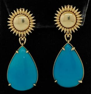 Heavy 18K yellow gold 26.5 x 18mm Natural turquoise drop dangle sun earrings