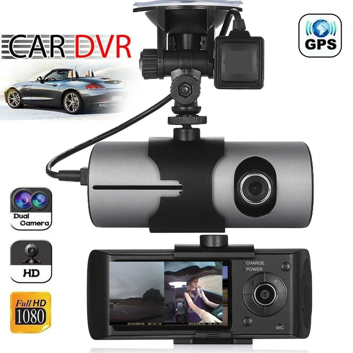 s-l1600 Dual Lens GPS Car DVR Camera HD Dash Cam Video Recorder G-Sensor w/ Night Vision