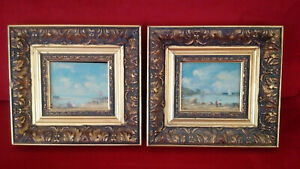 Superb-pair-of-paintings-seaside-early-twentieth-signature-oil-on-panel
