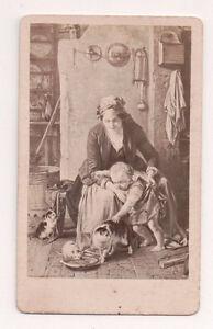 Vintage-CDV-Album-Filler-Mother-amp-Child-feeding-Kittens