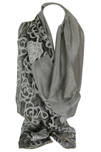 Floral Organza Border Embossed Ornamented Gold Edges Scarf Wrap Shawl Stole
