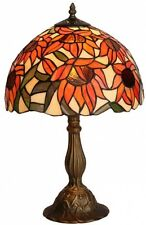 Handcrafted Tiffany Style Table Lamp Orange Sunflower Stained Glass Shade