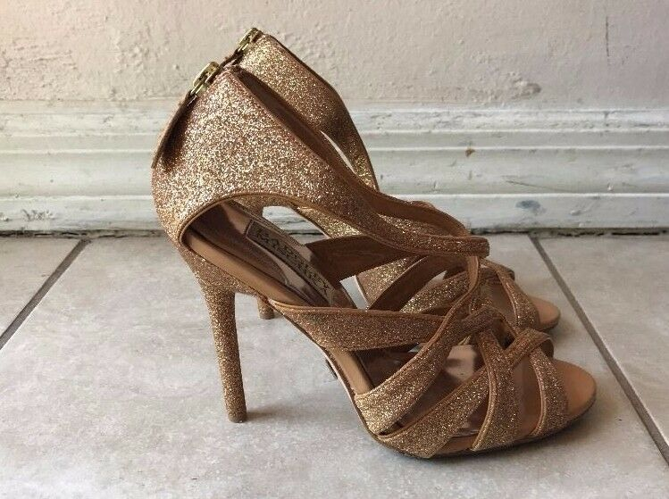 BADGLEY MISCHKA BRONZE Gold GLITTER STRAPPY STILETTOS Sz 5.5M