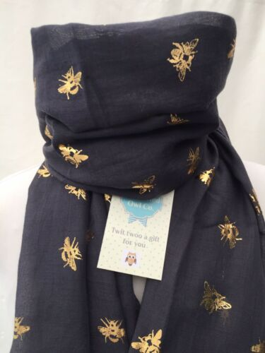 SPECIAL OFFER HERBERT HONEY BEE FOIL SCARF CHARCOAL DARK GREY BEES CLEARANCE