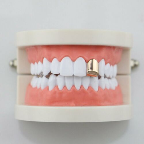 Plain Hip Hop Tooth Single Gold Color Teeth Rapper Caps Top And Bottom Teeth d8