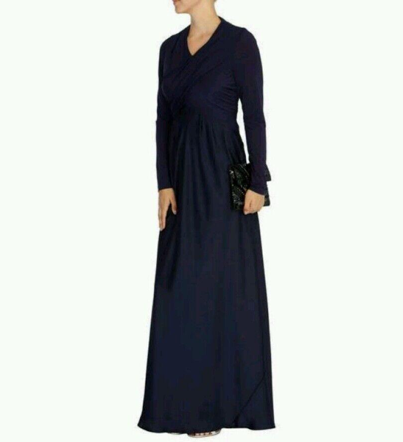 COAST  ANNIE  DRAPE NAVY blueE LONG SLEEVE MAXI DRESS SIZE 10 NEW