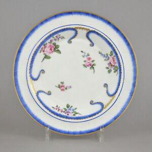 Assiette-En-Porcelaine-De-Sevres-a-Decor-Polychrome-Dit-Feuilles-de-choux-18eme