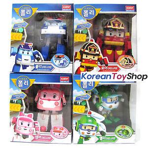 Robocar poli transformer deluxe 4pcs set poli roy amber helly robot toy academy ebay - Robocar poli ambre ...