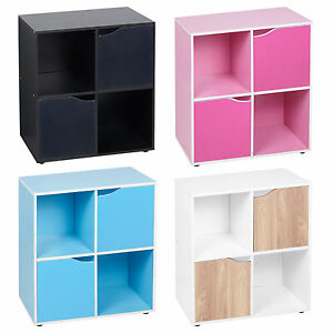 4-Cube-Wooden-Bookcase-Shelving-Display-Shelves-Storage-Unit-Wood-Shelf-Door-New