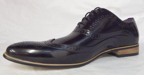 Pu Noir Hommes Formelles Soir Brevet Danse Goor Brillant Chaussures Style De Brogue Du YBwqxF