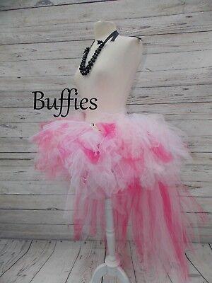 Ladies Tutu bustle Tulle  Feathers Fairy Burlesque dancer festival Black White