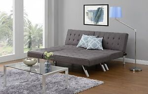 Details about Sofa Sectional Sleeper GRAY Chaise Lounge Linen Bed  Convertible Futon Couch Dorm
