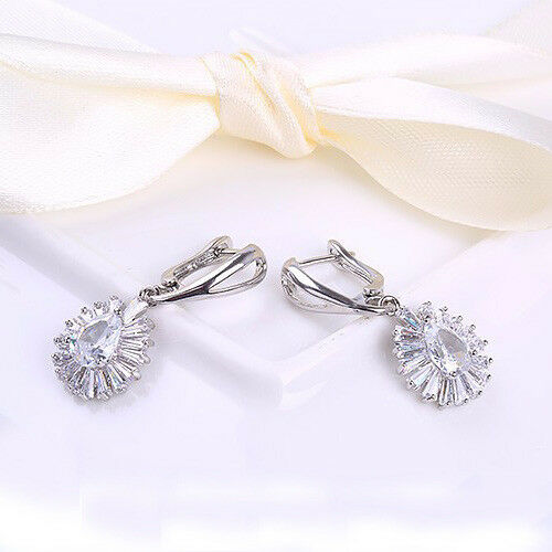 Shiny Holiday Natural White Topaz Gems Silver Lady Drop Earrings Jewelry Wow