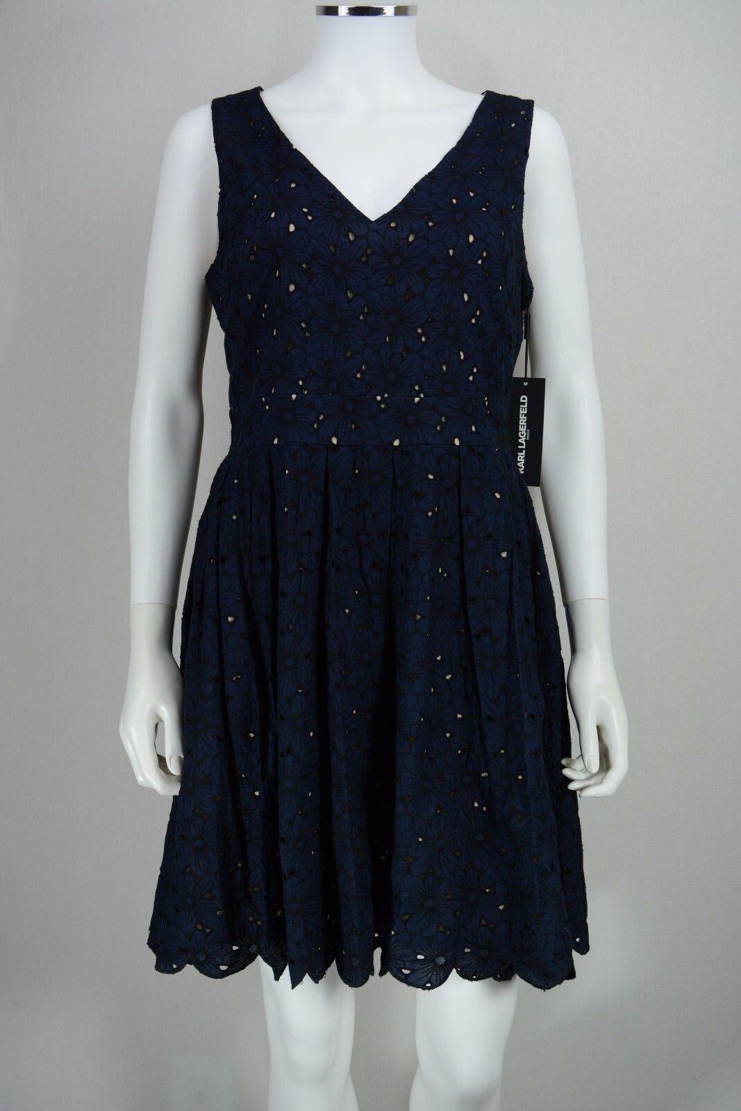 Woherren Karl Lagerfeld Größe 10 Blau Floral Lace Fit & Flare Tea Dress NEW NWT