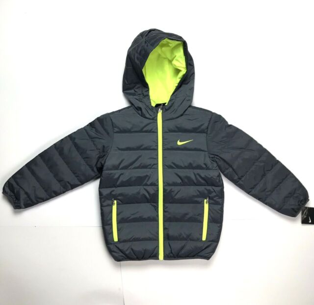 d813899f746d Nike Boys Girls Winter Jacket Dark Gray Hoodie Synthetic Fill Kids 5-6yrs  Size 6