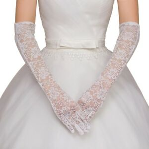 Women Bridal Gloves Elbow Length Full Finger Lace Wedding Accessories Prom Party