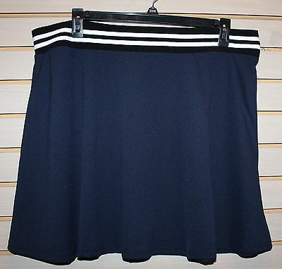 On Sale NEW WOMENS PLUS SIZE 3X NAVY BLUE FLARED FLOWY ATHLETIC SKATER TENNIS SKIRT