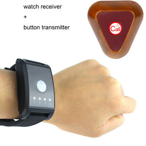 4CH-Wireless-Watch-Call-Receiver-Pager-Button-Transmitter-Vibrate-Buzzer-433MHz