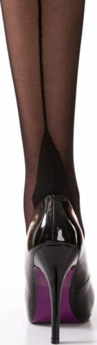 Silky Seamer Contrast Back Seamed Stockings Retro Black Red Nude One Size