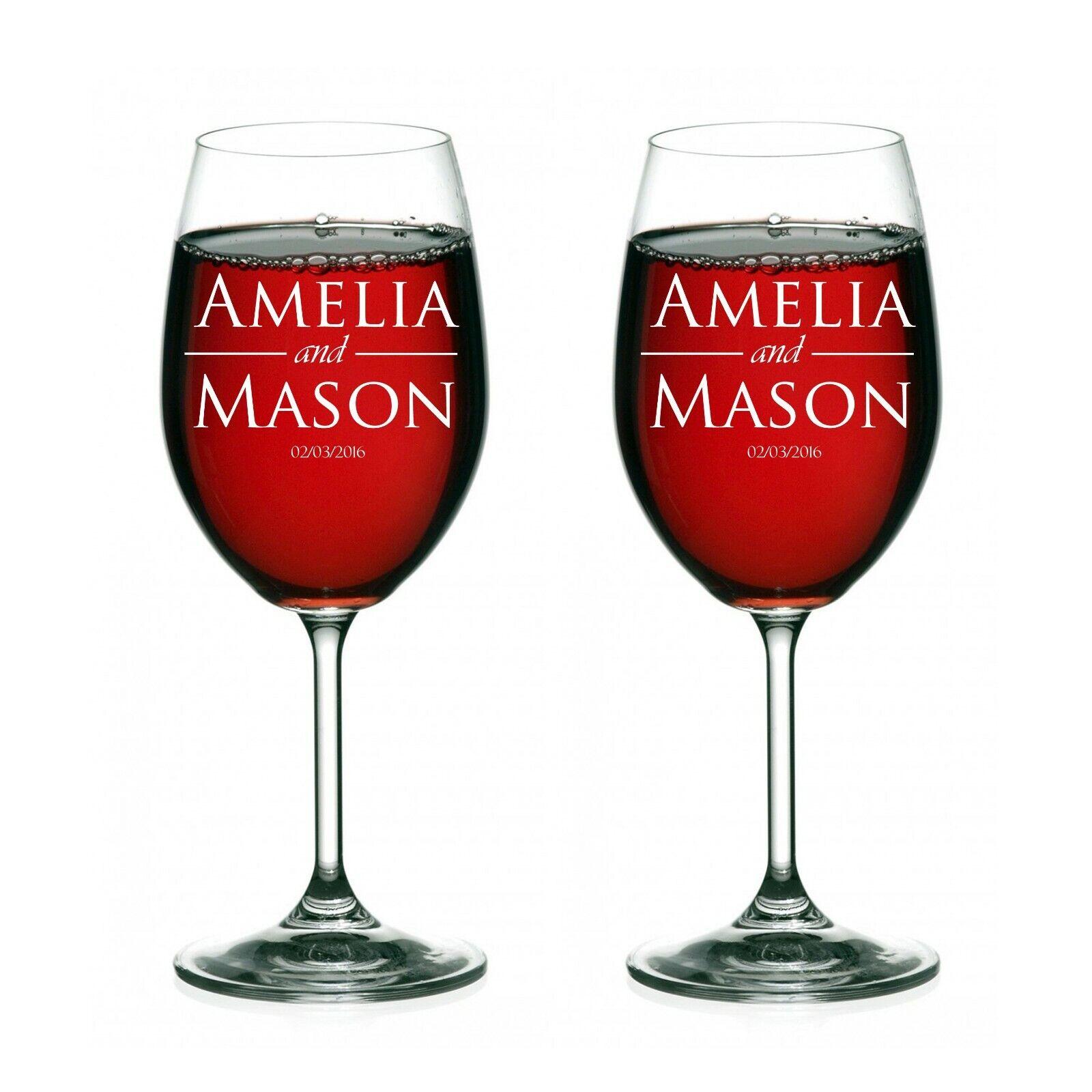 gift, Couple glasses, wine 2 of set Wedding Personalized ...