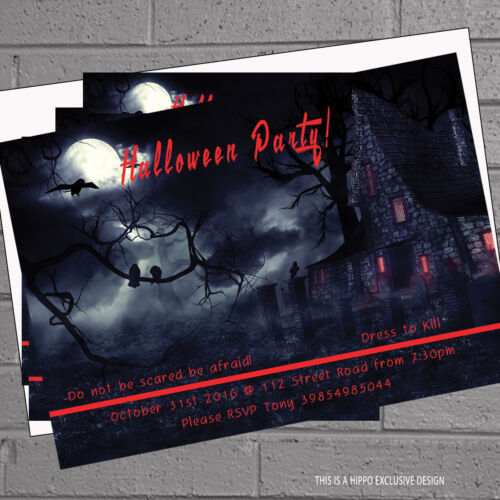 12 x Halloween Party Invitations Haunted House PersonalisedH0329