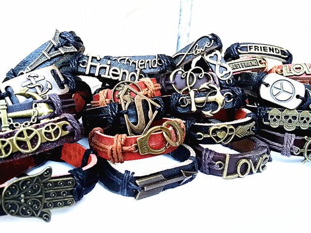 wholesale lots 30pcs mixed styles vintage alloy leather fashion cuff bracelets