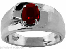 Mens Ring 1.00 Carat Ruby in Sterling Silver or Gold Plated Sterling Silver