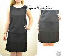 NEXT TAGGED £60 TAILORED BLACK LACE PANEL SHIFT DRESS 10,12,14,16