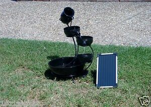 BLACK-5-LEVEL-CASCADING-WIRELESS-WATER-FALL-FOUNTAIN-SOLAR-PUMP-NEEDS-NO-OUTLET