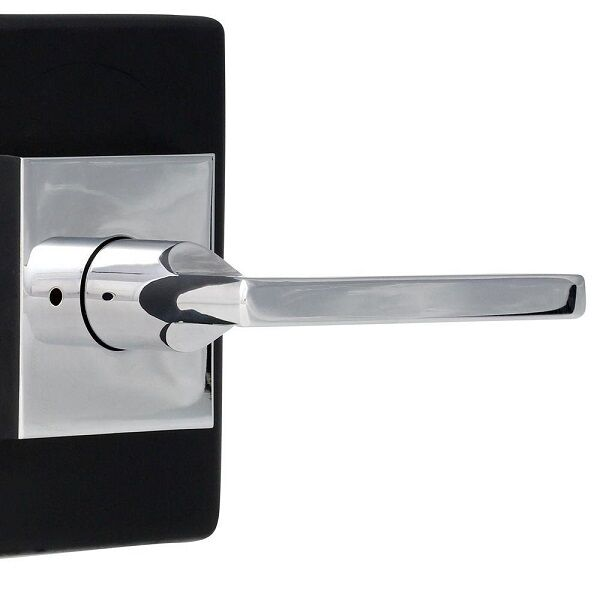 Baldwin Reserve Square Polished Chrome Privacy Lever with Square Rose