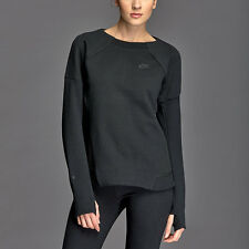 Nike Womens Tech Fleece Mesh Crew Sweatshirt - Sz XS - 725852 010 - Black