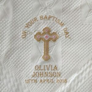 Personalised Baby Blanket Christening Baptism Naming Day Embroidered Date Gift